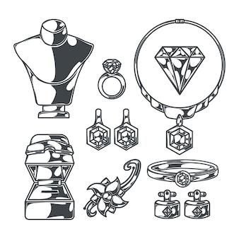 宝石の指輪とダイヤモンドを備えた人間の形をしたボディマネキンと分離されたモノクロ画像の宝石商セット