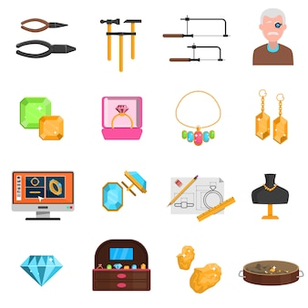 Jeweller icons set