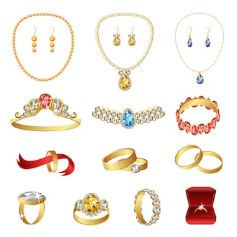Jewellery icons set, cartoon style