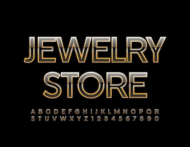宝石店の光沢のあるフォントゴールドとブラックのアルファベットの文字と数字のセット