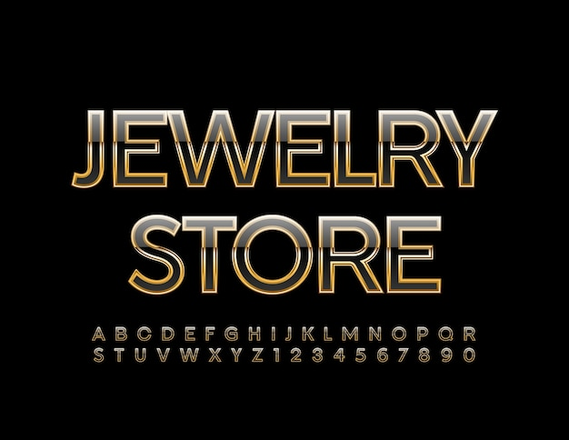 Jewellery store shiny font gold and black alphabet letters and numbers set