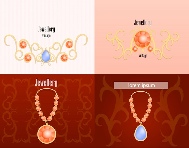 Jewellery woman luxury banner concept set