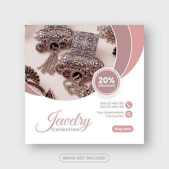 Jewellry social media post and instagram banner or square flyer design premium
