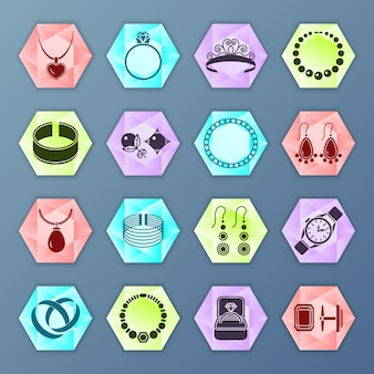 Jewelry accessories fashion hexagon icons set isolated