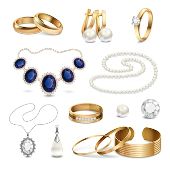 Jewelry accessories realistic set