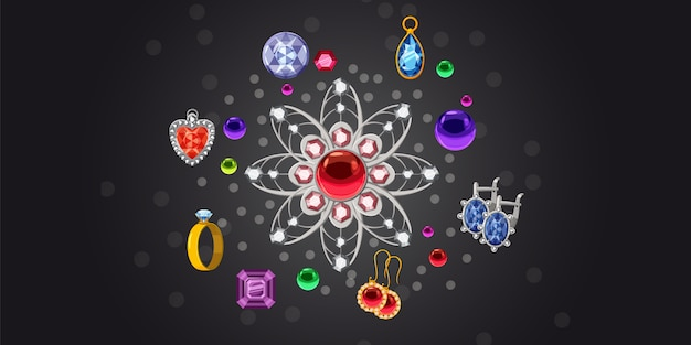 Jewelry brooch collection horizontal background