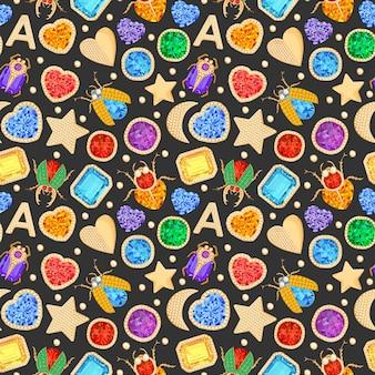 보석과 황금 액세서리 원활한 패턴 보석 브로치. 럭셔리 보석, 다이아몬드, 에메랄드, 루비 및 크리스탈 패션 배경. 벡터 일러스트 레이 션