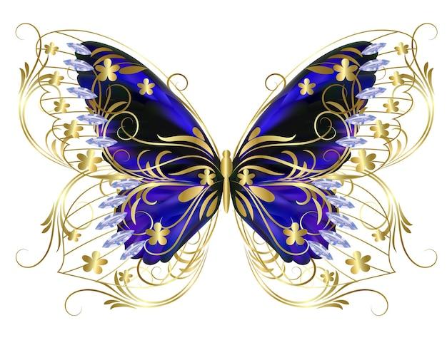 화려한 날개를 가진 나비 보석