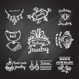 Jewelry chalkboard emblems