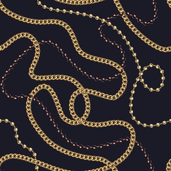 Jewelry colorful seamless pattern with gold chain and elegant necklaces