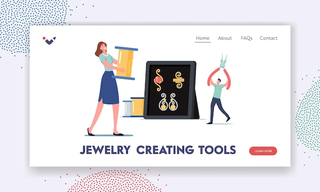 Jewelry creating tools landing page template. tiny characters holding huge clippers and wire spool for making handmade jewelry. creative hobby, handcraft bijouterie. cartoon vector illustration