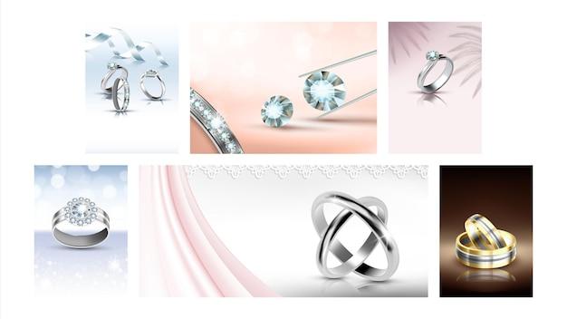 Ювелирные изделия творческие рекламные плакаты задать вектор. модные украшения золотые и серебряные кольца и драгоценные камни, бриллианты и бриллианты на рекламных баннерах. иллюстрации шаблон концепции стиля