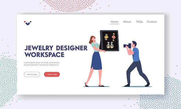 Jewelry designer workspace landing page template. female designer character presenting collection of handmade wire bijouterie for photographer shooting accessories. cartoon people vector illustration