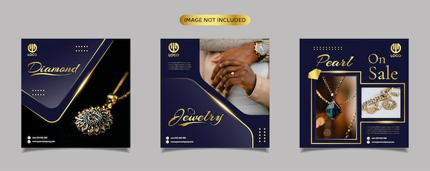 Jewelry, diamond, and pearl social media instagram post promotion template