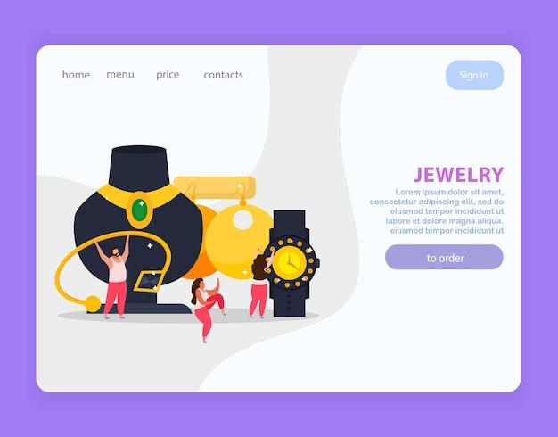 Ювелирный плоский дизайн веб-сайта, кнопки с интерактивными ссылками