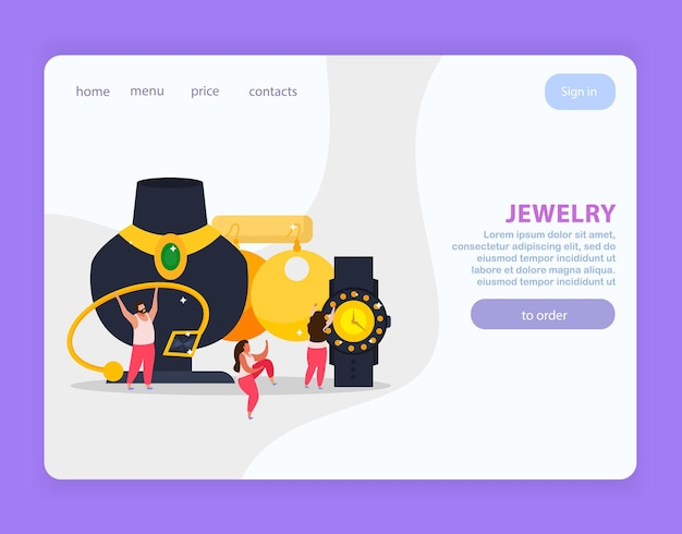 Jewelry flat website design clickable links buttons doodle images and editable text