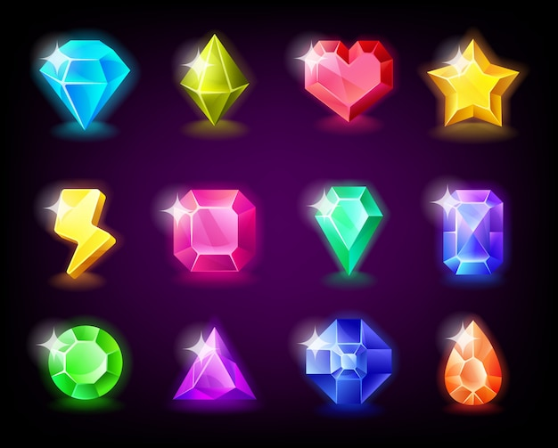 Jewelry gems set magic stone with sparkles for mobile game