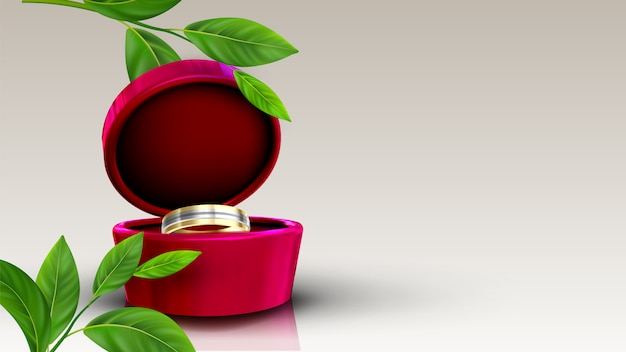 Jewelry golden and silver ring in red box
