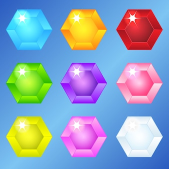Jewelry hexagon 9 colors for 3 match games.
