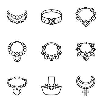 Jewelry icon set, outline style