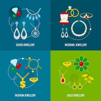 Jewelry icons flat set of silver gold wedding fashion jewellery isolated vector illustration