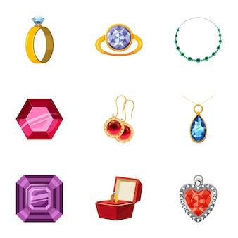 Jewelry icons set, cartoon style