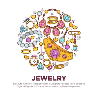 Jewelry items collection in round shape on white