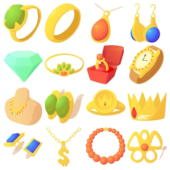 Jewelry items icons set