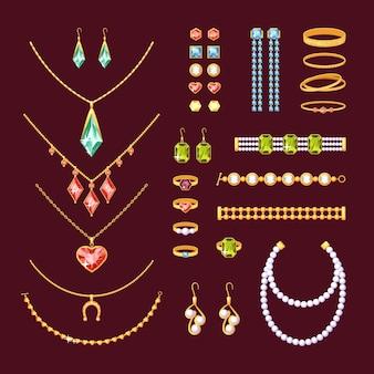 쥬얼리 아이템 세트. 진주가 달린 세련된 목걸이 루비 커프스 링크 링 팔찌 전기석 다이아몬드 금 귀걸이 펜던트와 토파즈 목걸이 에메랄드와 사파이어.