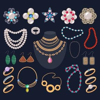 Ювелирные украшения, золотые браслеты, колье, красивые серьги и серебряные кольца с бриллиантами, набор иллюстраций аксессуаров из женского жемчуга, изолированных на фоне