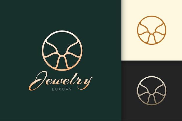 Логотип ювелирных изделий в элегантной и роскошной форме для красоты и моды