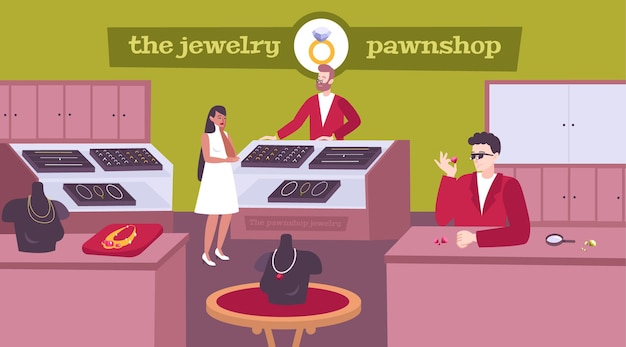 Jewelry pawnshop interior flat composition with lady customer choosing necklace pawnbroker pricing gemstones rings