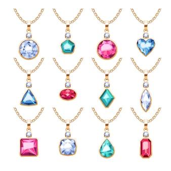 ジュエリーペンダントセット。宝石と金色のチェーン。ダイヤモンドパールのルビーをあしらった貴重なネックレス。図。ジュエリーショップに適しています。