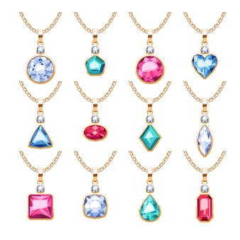 Jewelry pendants set. golden chains with gemstones. precious necklaces with diamonds pearls rubies.  illustration. good for jewelry shop .