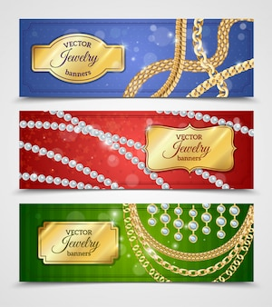 Jewelry realistic banners set with chains and earrings