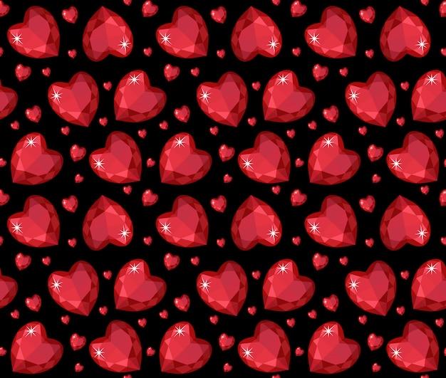 ジュエリールビーの赤いハートのシームレスなパターン。鮮やかな、宝石の心の無限の背景、テクスチャ、壁紙。バレンタイン・デー。図。
