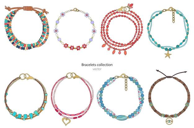 Комплект украшений: яркие браслеты с подвесками и драгоценными камнями. векторная иллюстрация.