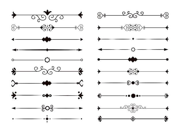 보석 세트입니다. 꽃 텍스트 구분선 요소의 컬렉션입니다. 벡터 격리 된 흰색 배경입니다.