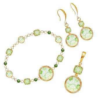 Комплект украшений из сережек, кулона и браслета. зеленый квадрат, капля и круглый кристалл драгоценного камня с золотым элементом. красивая акварель рисунок кристаллов на золотой цепочке. концепция ювелирного магазина
