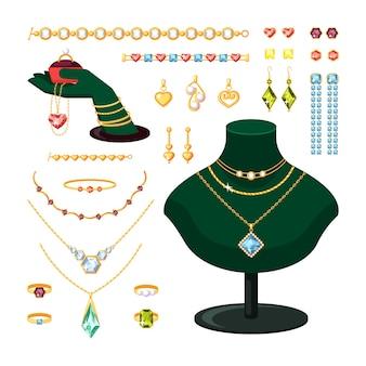 보석 세트. 다이아몬드와 루비가 세팅 된 세련된 반지 팔찌