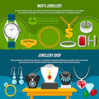Jewelry shop horizontal banners with mens valuables, female decorations on blue and green backgrounds isolated