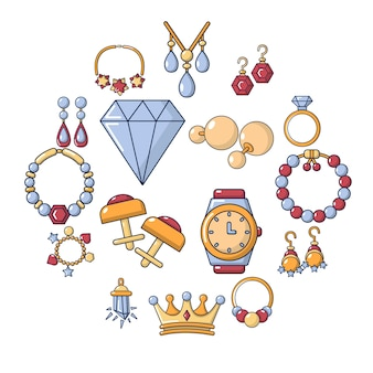 Jewelry shop icon set, cartoon style