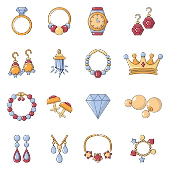 Jewelry shop icons set