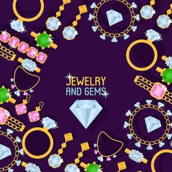 バナーイラストのジュエリーショップセット。ダイヤモンドアクセサリー。