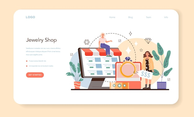 Jewelry shop web banner or landing page. precious stones jewelry business. goldsmith workshop, luxury treasure industry. idea of creative people and profession.vector illustration