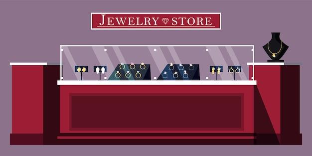 宝石店のショーケースのイラスト。宝石店のバナーテンプレート。 bijouterieと宝石のブティック広告ポスターのレイアウト。貴石の販売。結婚指輪、金と銀のネックレス