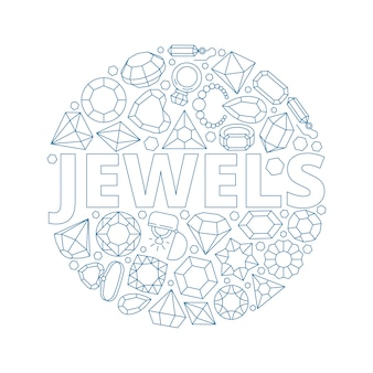 Jewels background. circle shape with luxury diamond gems bracelets and shiny rings jewels collection