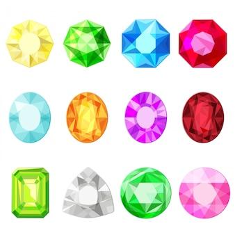 Jewels diamonds gem stickers set.