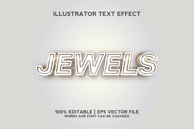 Jewels white and gold text effect template