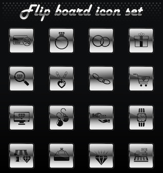 Jewerly store vector flip mechanical icons for user interface design